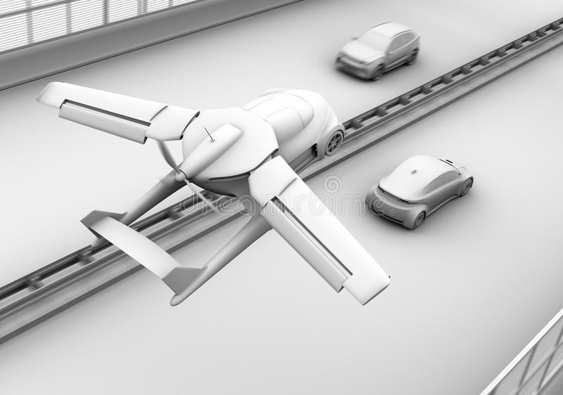 Clay shading rendering of futuristic flying car flying over traffic jam in the highway. 3D rendering image vector illustration