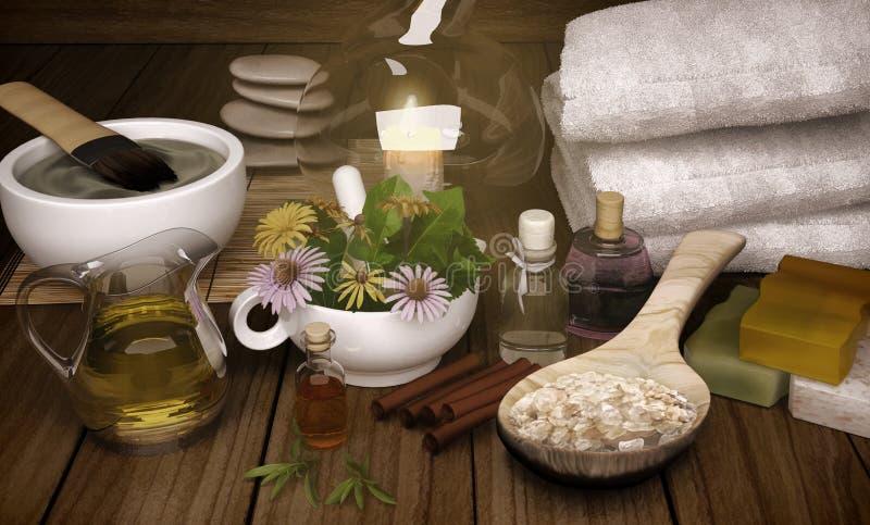 Clay Spa, máscara, sal de banho, varas de canela para o corpo saudável e ilustração do vetor