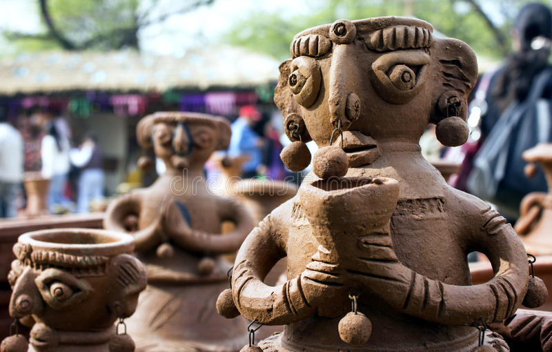 Clay statue of woman in surajkund fair royalty free stock image