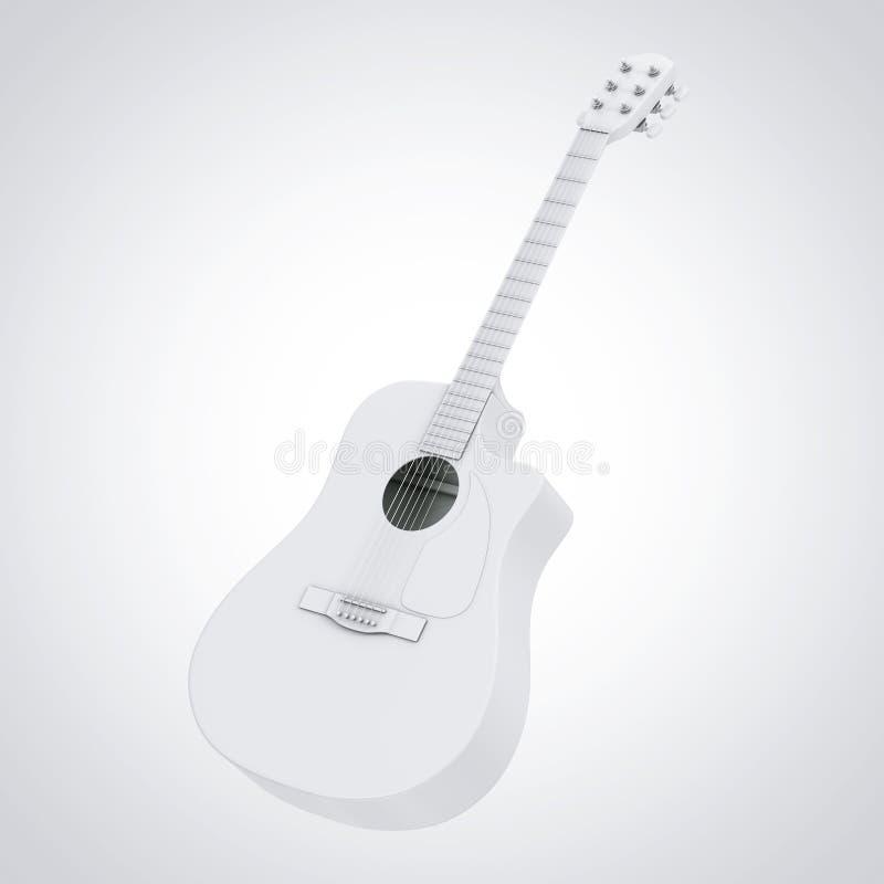 Clay Style Acoustic Guitar blanc rendu 3d illustration stock