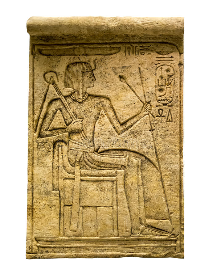 Clay tablet with ancient egyptian hieroglyphs containing the fig royalty free stock image