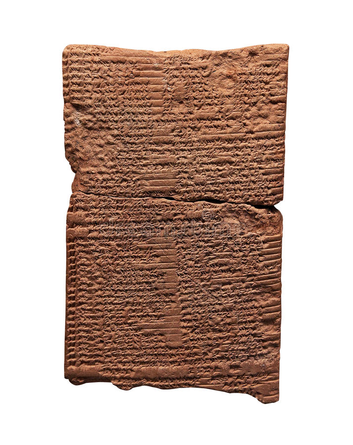 Clay tablet with cuneiform writing stock photo