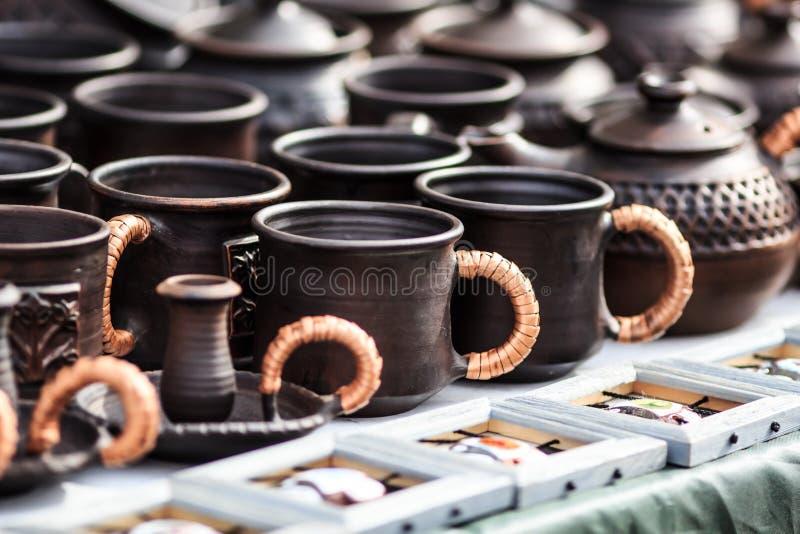 Clay tableware royalty free stock photos