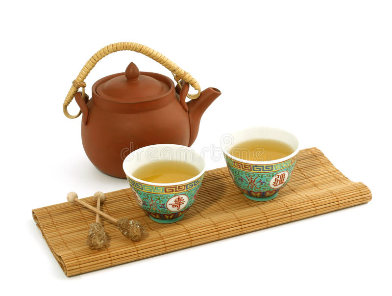 Download Clay Teapot And Cups Of Tea Isolated On White Stock Photo - Image of china, iron: 24879048