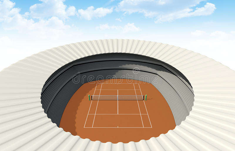 Clay Tennis Court In The Day. An orange clay tennis court in a stadium in the daytime royalty free illustration