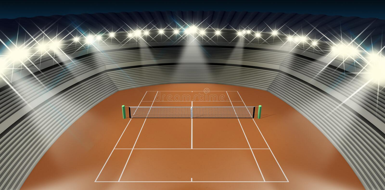 Clay Tennis Court At Night. An orange clay tennis court in a stadium at night under floodlights stock illustration