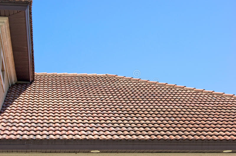 Download Clay Tile Roof In Florida Against Clear Blue Sky Stock Image - Image of scales, layered: 20926395