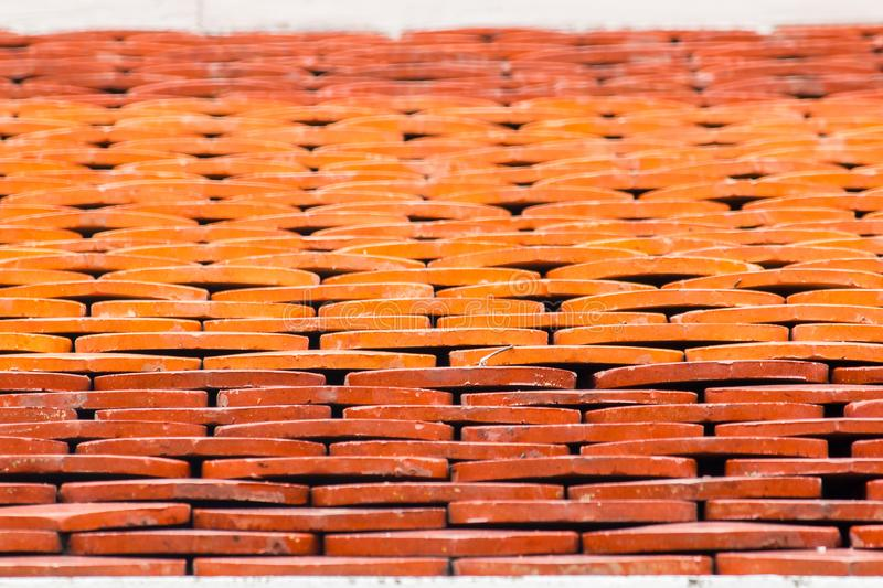 Clay tiles are used to make temple roofs. In Thailand royalty free stock images