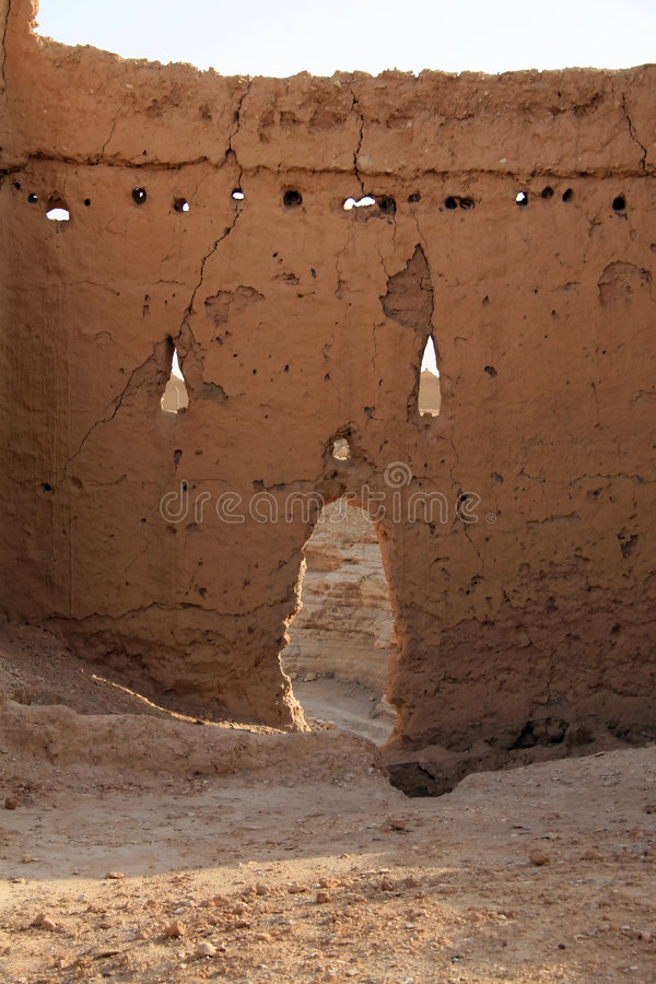 Clay wall in Diriyah royalty free stock photography