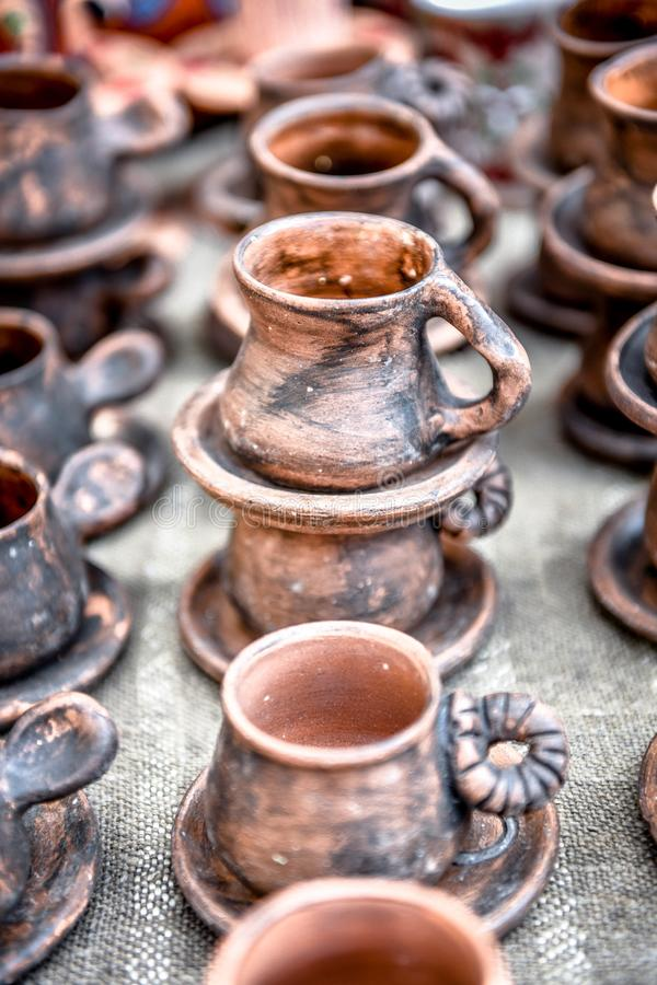 Clay ware . Clay ware for sale clay cookware on sale. The clay holds nutrients and keeps your food moist stock photo