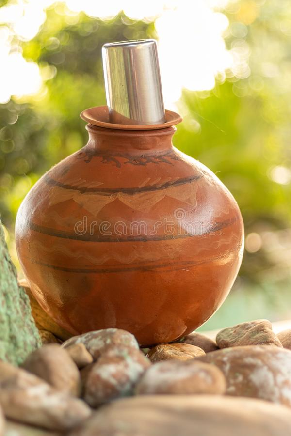 Clay Water Pot royalty-vrije stock foto's