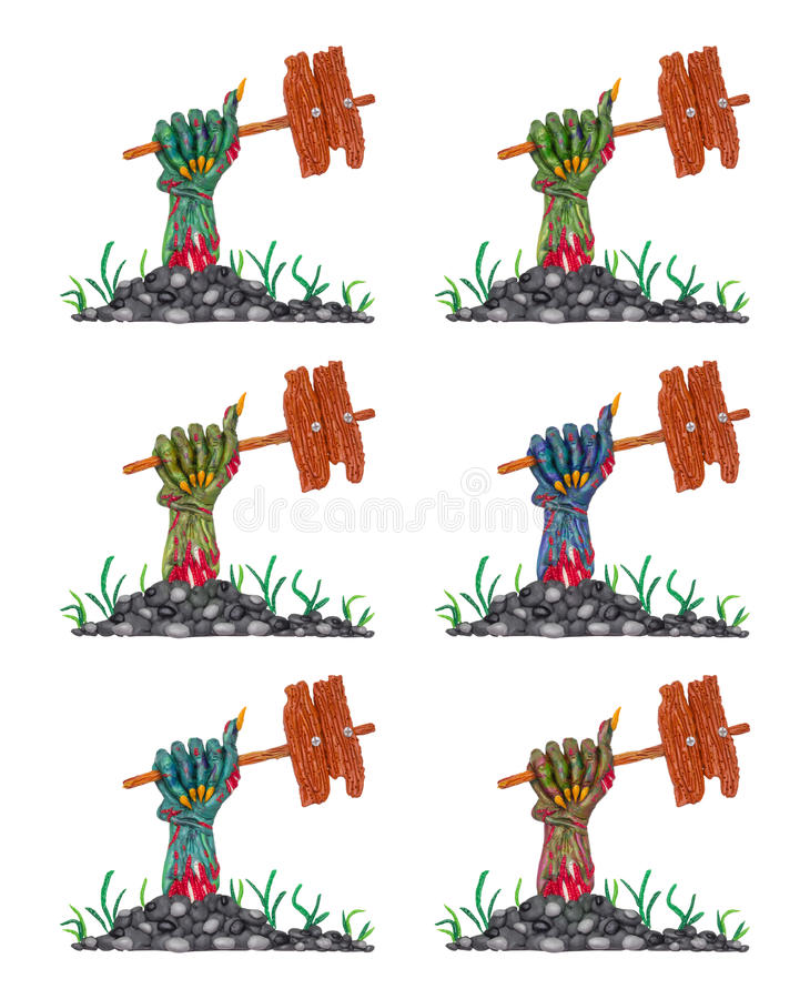 Clay zombie hands. A collection of a colorful clay zombie hands with banners for your text stock image