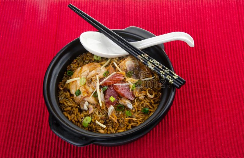Claypot chicken rice. asia food royalty free stock photo