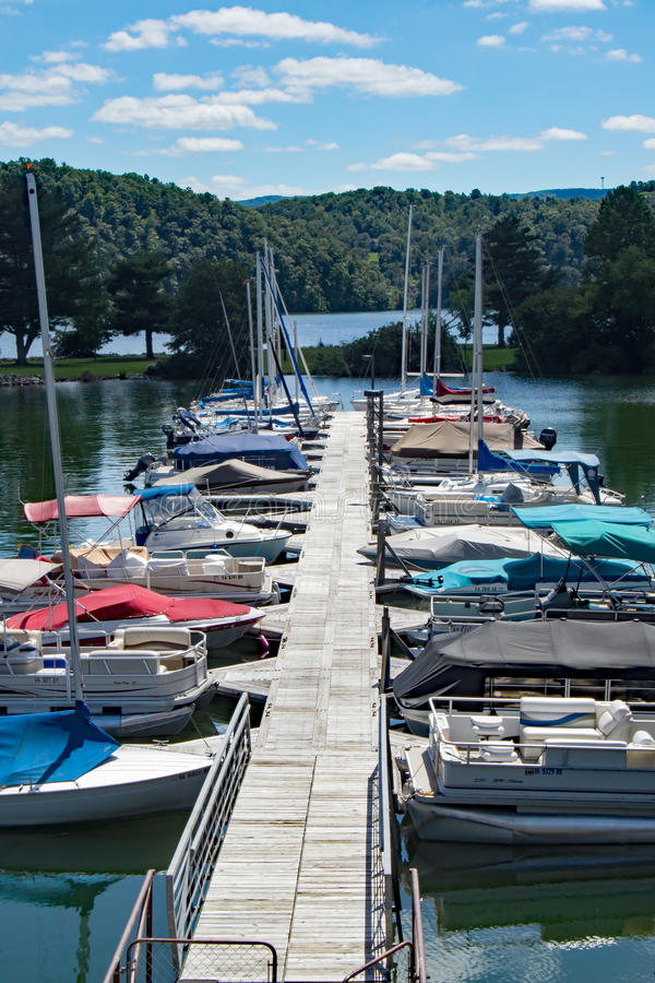 Claytor Lake Marina, Dublin, Virginia, USA. Dublin, VA – August 22th; Boats docked at Claytor Lake Marina located in Claytor Lake State Park on the 22th stock photography