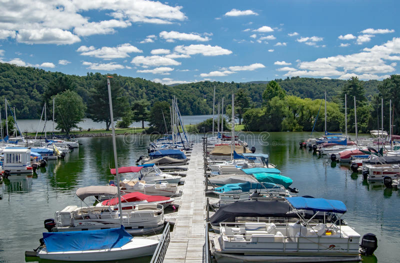 Claytor Lake Marina, Dublin, Virginia, USA. Dublin, VA – August 22th; Boats docked at Claytor Lake Marina located in Claytor Lake State Park on the 22th royalty free stock image