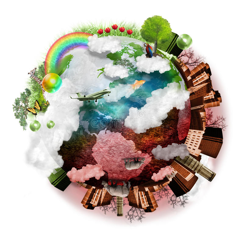 Clean Air and Polluted Earth Mix vector illustration