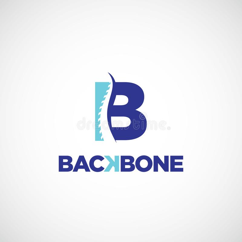 Clean B initial Letter Chiropractic Logo. Design Template Sign Symbol Icon royalty free illustration