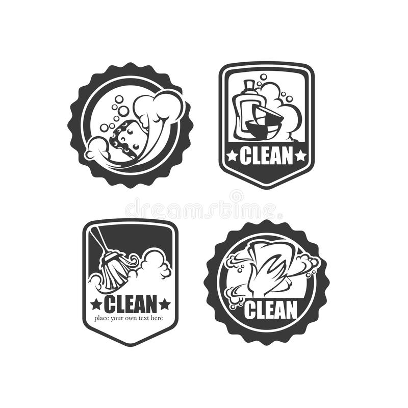 Clean it badges. Cleaning, washing, sweeping and chamberwork, vector emblem, logo and symbols collection stock illustration