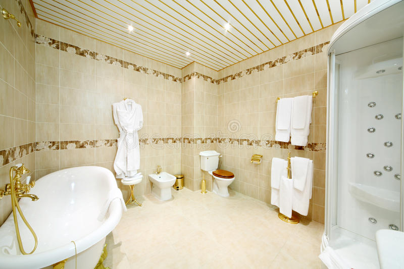 Clean bathroom with bath, shower cabin, toilet and bidet. In classic style stock photos
