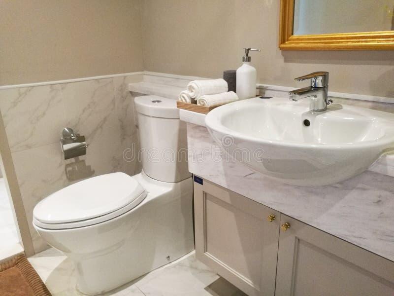 Clean bathroom in comdominium stock images