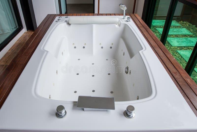 Clean bathroom modern bath , bathroom white hygiene clean modern style. Hotel real estate , luxury wellbeing style leisure and car royalty free stock photos