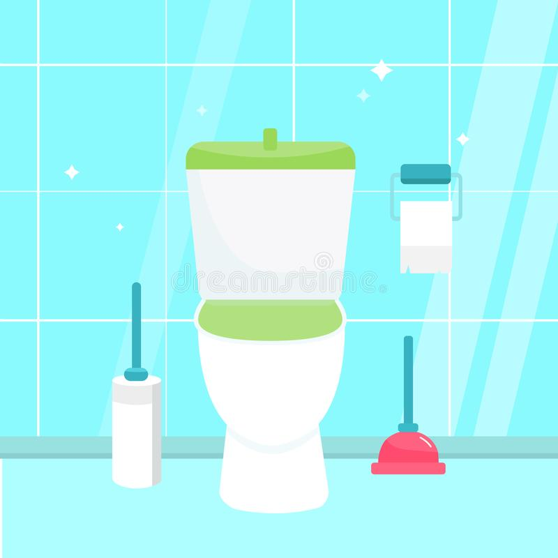 Clean bathroom with toilet sink bath and accessories in a modern style. WC sanitary Flat vector illustration. royalty free illustration