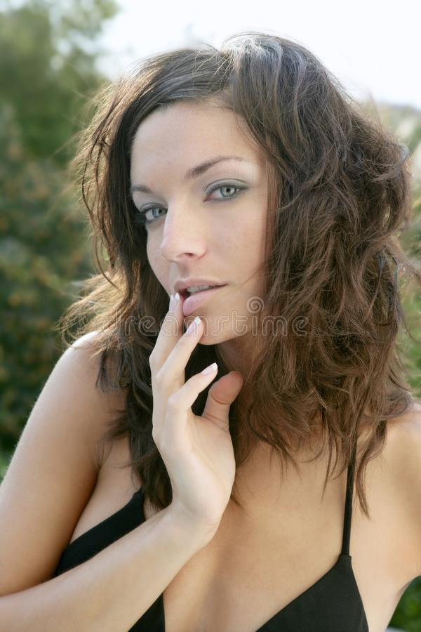 Clean beautiful woman outdoor portrait royalty free stock image