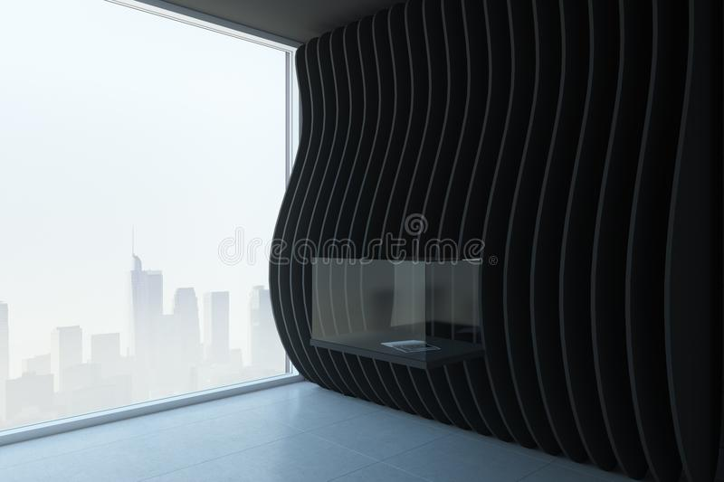 Clean black exposition room. With installation and city view. Museum and gallery concept. 3D Rendering stock illustration