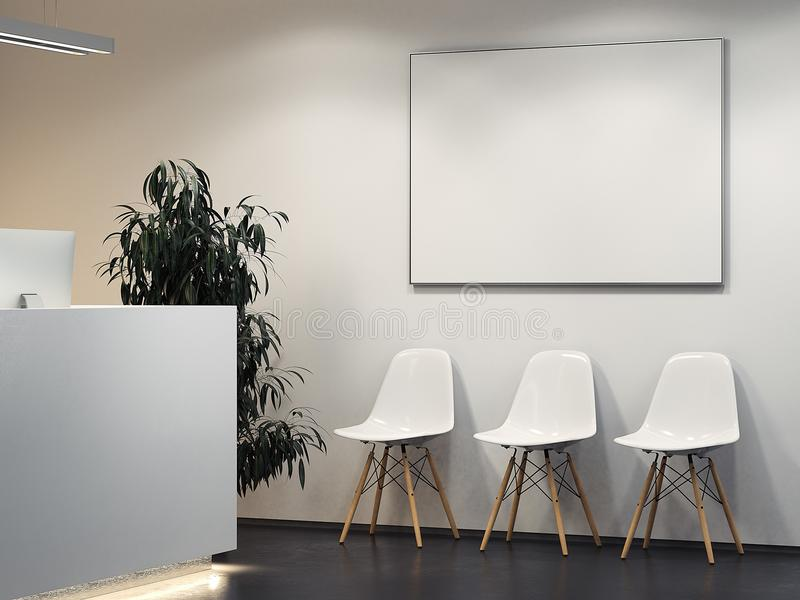 Clean bright interior with reception and row of chairs. 3d rendering. Clean bright interior with reception and row of white chairs. 3d rendering vector illustration
