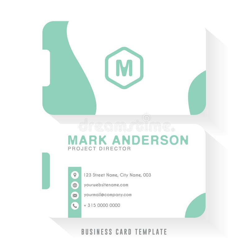 Clean business card template design with white and green color combination. Company business card template. Vector design element royalty free illustration