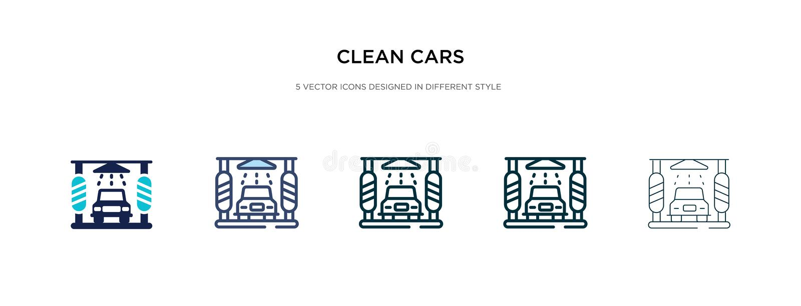 Clean cars icon in different style vector illustration. two colored and black clean cars vector icons designed in filled, outline stock illustration