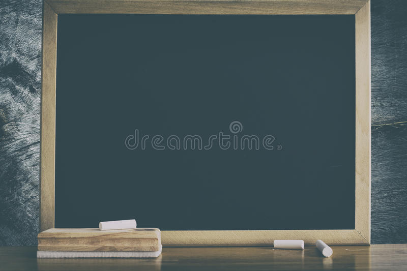 Clean Chalkboard for background. Black board. royalty free stock photography