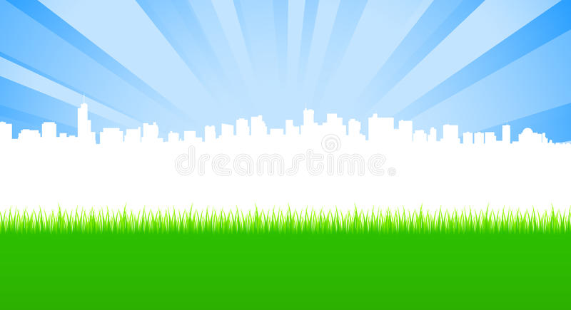 Download Clean City And Green Meadow Stock Illustration - Image: 25199953