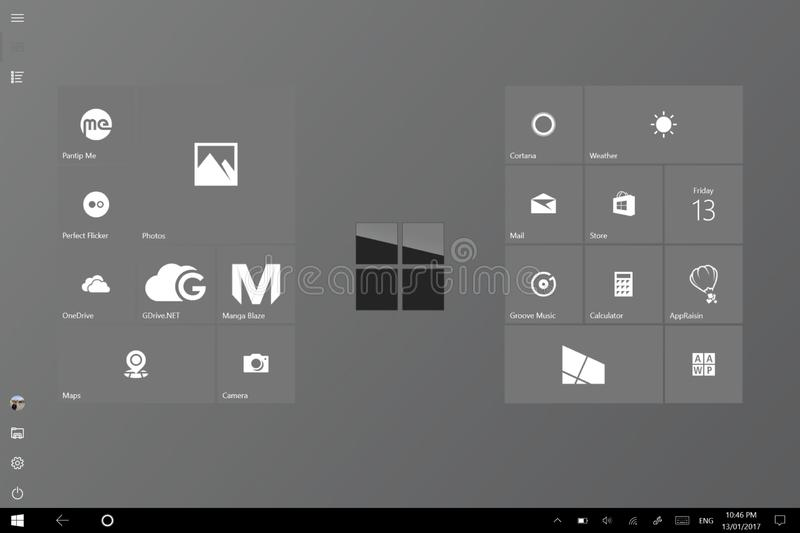 Clean and classy Windows 10 tablet mode start screen stock photo