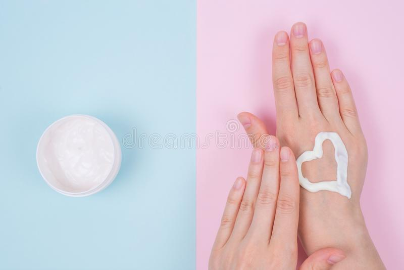 Clean clear finger natural nourishing fingernail concept. Above top overhead high angle flatlay flat lay close up view photo of be stock images