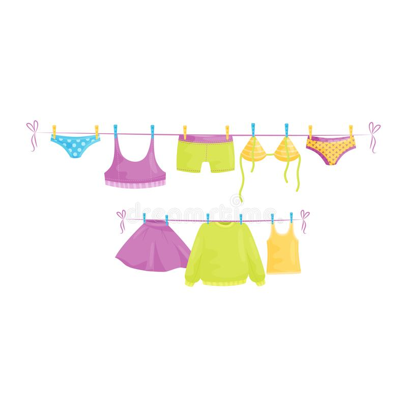Clean clothes hanging on ropes. Female garment. Laundry theme. Flat vector design. Clean clothes hanging on ropes underpants, swimwear, woolen sweater, tops and vector illustration