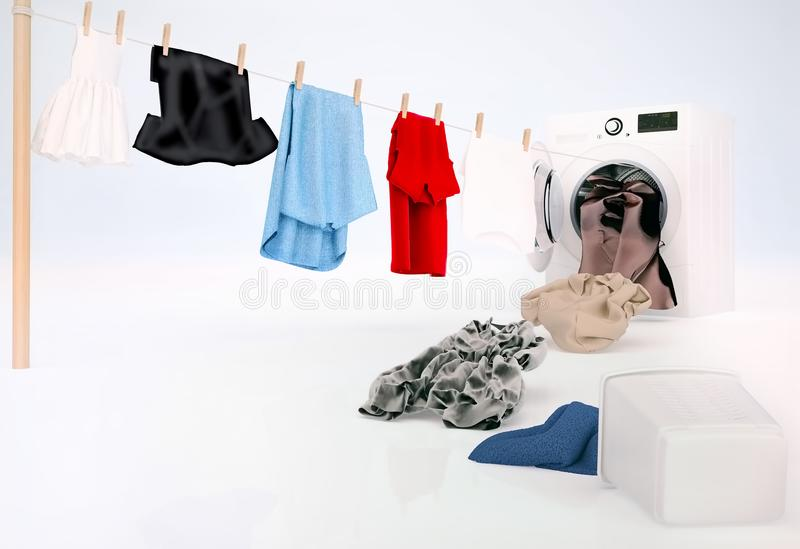 Clean clothing hanging on a rope coming out of the washingmachine. stock image