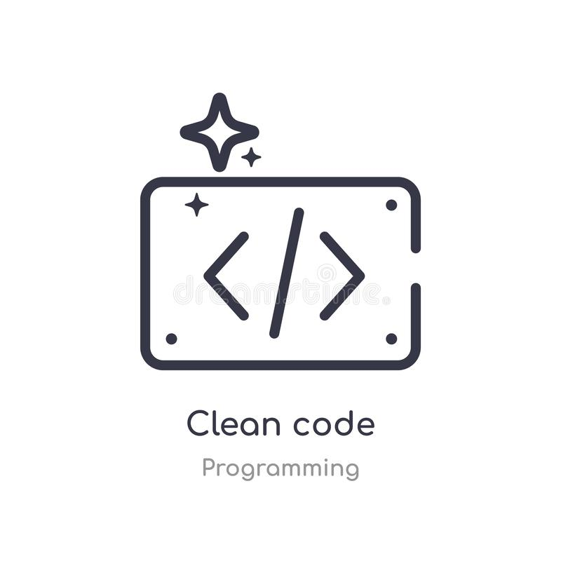 Clean code outline icon. isolated line vector illustration from programming collection. editable thin stroke clean code icon on. White background stock illustration
