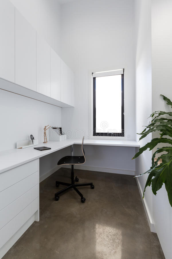 Clean crisp white study area in a contemporary home. Clean crisp white study area in a contemporary new home royalty free stock photos