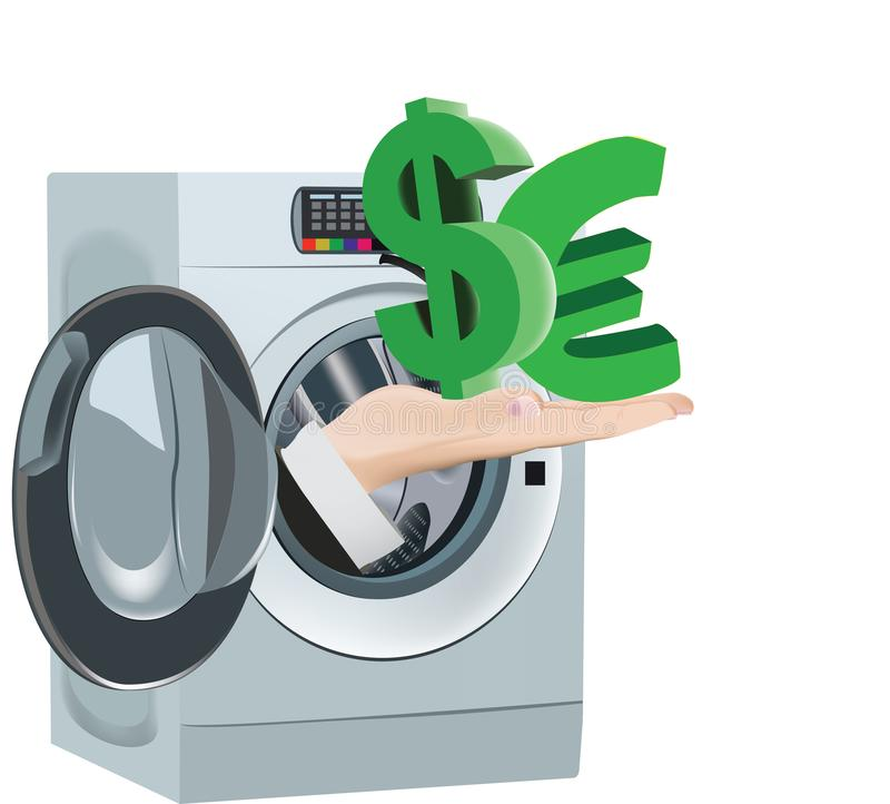 Clean currency cleaning washing machine royalty free illustration