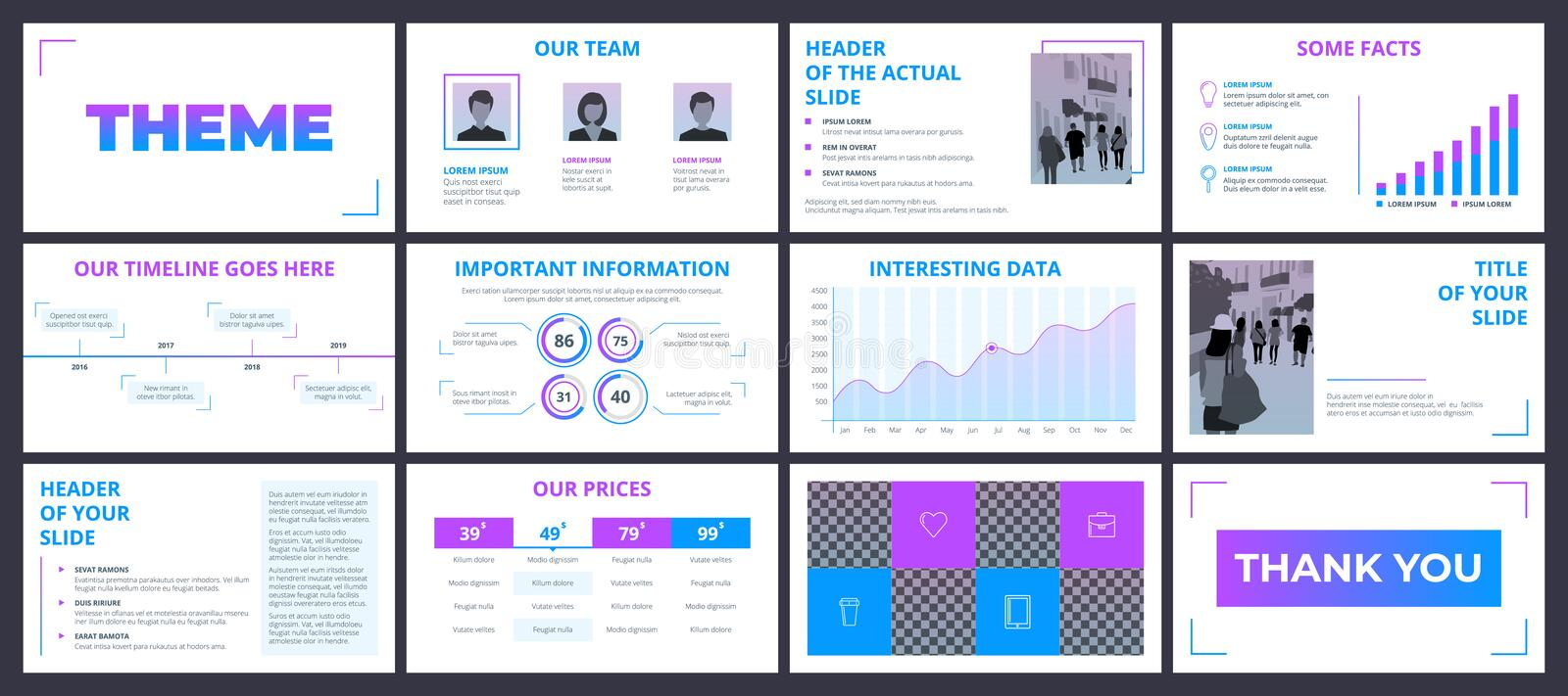 Blue And White Element For Slide Infographic On Background  Stock