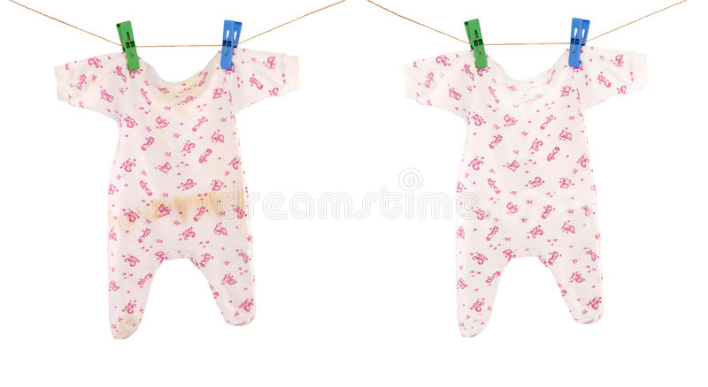 Clean and dirty baby cloth stock photography