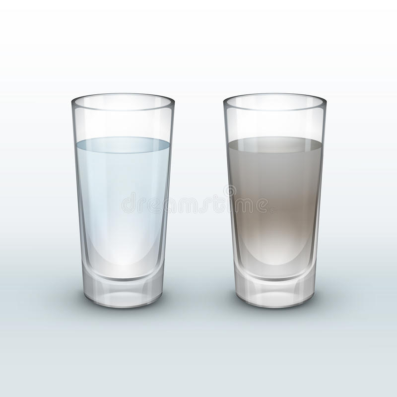 Clean, dirty water vector illustration