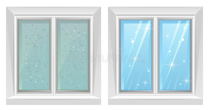 Clean and dirty window royalty free illustration