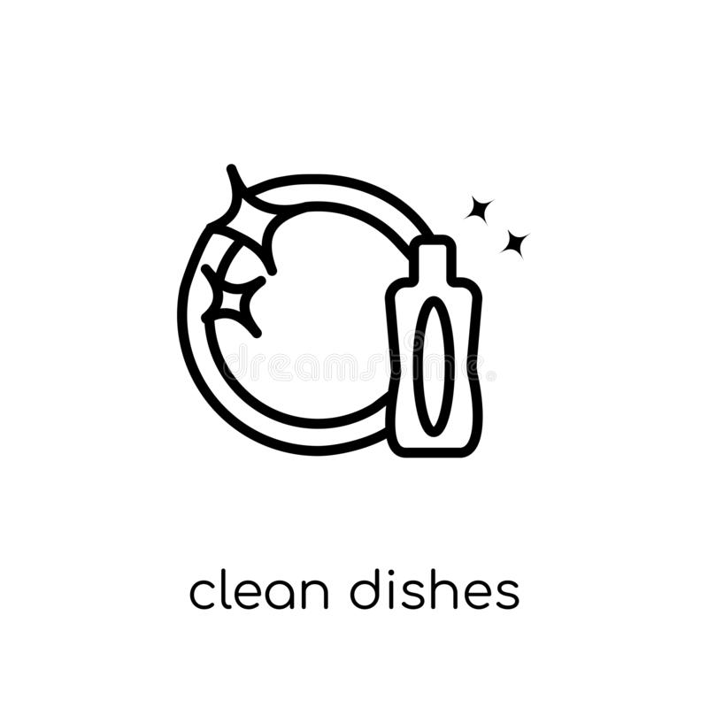 Clean dishes icon from collection. stock illustration