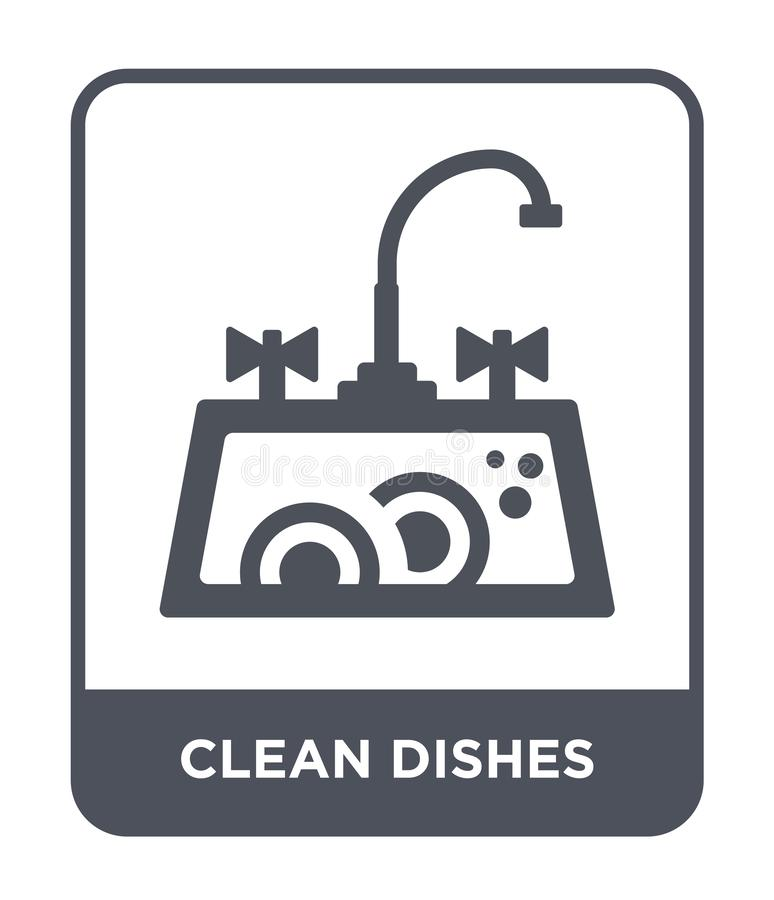 Clean dishes icon in trendy design style. clean dishes icon isolated on white background. clean dishes vector icon simple and. Modern flat symbol for web site royalty free illustration