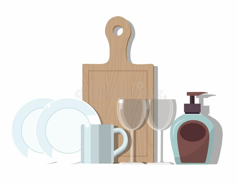 Clean dishes on white stock illustration