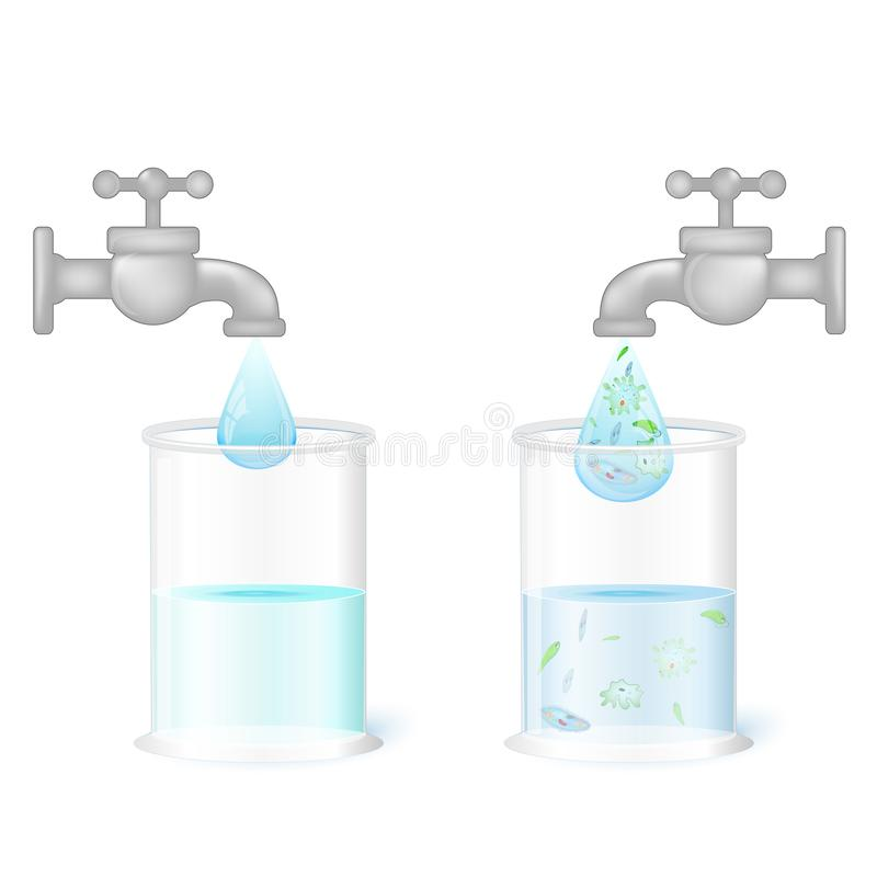 Two glasses and taps with clean drinking water and dirty water w. Clean drinking fresh water and dirty water with germs amoeba, infusoria, euglena and other stock illustration