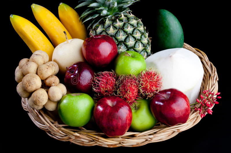 Download Variety Fruits In The Basket Isolated Stock Image - Image: 19744651