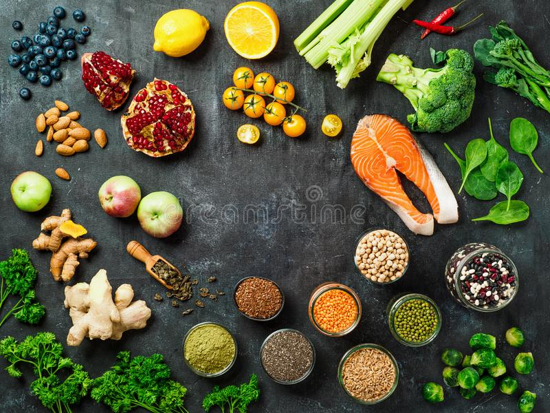 Clean Eating concept. Copy space. Top view or flat lay royalty free stock image